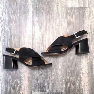 ALDO Black Suede Chunky Heel Sling Back Heels Size 7.5